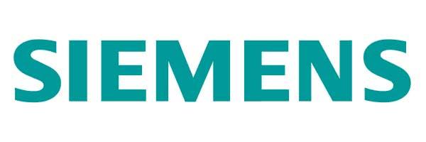 Electromundo - Reparação de electrodomésticos - Esta imagem representa o logotipo da SIEMENS. Trata-se de um símbolo simples com as letras da marca arredondadas. A côr de fundo é branco e as letras são em caixa baixa e de coe azul.